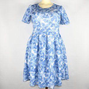 Lularoe Amelia Blue White Roses Dress 2XL